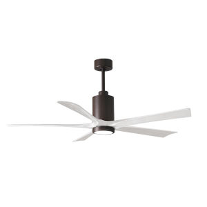 Patricia-5 Textured Bronze and Matte White 60-Inch Ceiling Fan with LED Light Kit