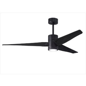 Super Janet Matte Black 60-Inch Ceiling Fan with LED Light Kit