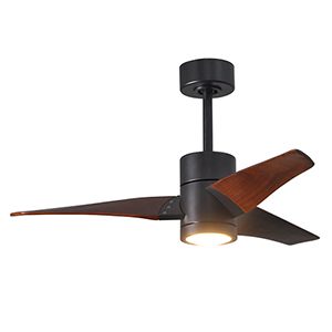 Super Janet Matte Black 42-Inch LED Ceiling Fan with Walnut Tone Blades