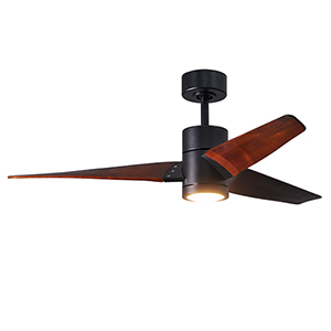 Super Janet Matte Black 52-Inch LED Ceiling Fan with Walnut Tone Blades