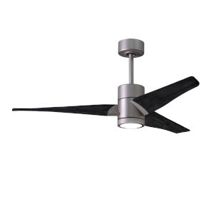 Super Janet Brushed Nickel and Matte Black 52-Inch Ceiling Fan with LED Light Kit
