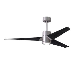 Super Janet Brushed Nickel and Matte Black 60-Inch Ceiling Fan with LED Light Kit