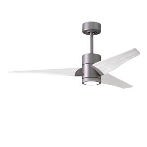 Super Janet Brushed Nickel and Matte White 52-Inch Ceiling Fan with LED Light Kit