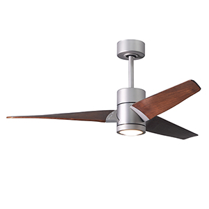 Super Janet Matte Black 52-Inch LED Ceiling Fan with Barnwood Tone Blades