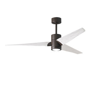 Super Janet Textured Bronze and Matte White 60-Inch Ceiling Fan with LED Light Kit