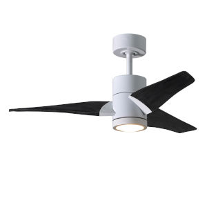 Super Janet Gloss White and Matte Black 42-Inch Ceiling Fan with LED Light Kit