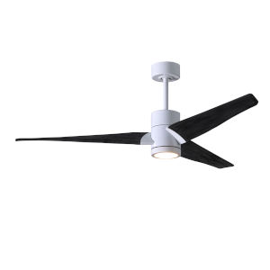 Super Janet Gloss White and Matte Black 52-Inch Ceiling Fan with LED Light Kit