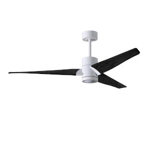 Super Janet Gloss White and Matte Black 60-Inch Ceiling Fan with LED Light Kit