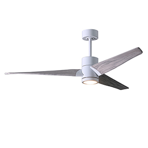 Super Janet Gloss White 60-Inch LED Ceiling Fan with Barnwood Tone Blades