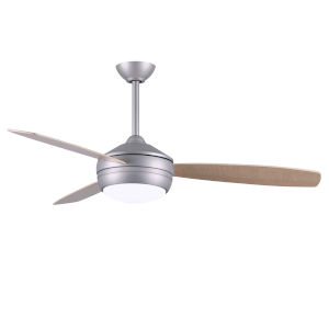 T-24 Brushed Nickel 52-Inch LED Ceiling Fan with Maple Barn Wood Blades