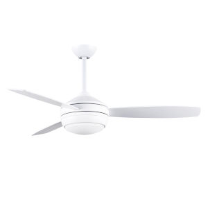 T-24 Matte White 52-Inch LED Ceiling Fan with Brushed Nickel Blades