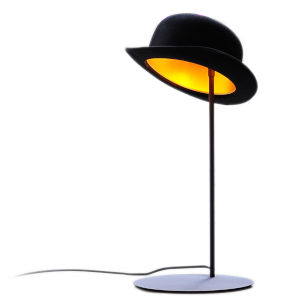 Jeeves and Wooster Black Felt and Gold Interior One-Light Table Lamp