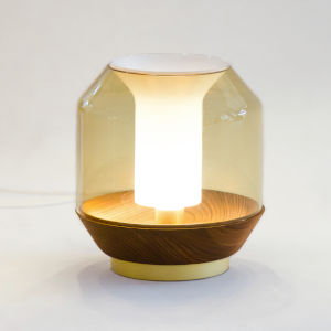 Lateralis Smoke Glass and European Ash One-Light Table Lamp