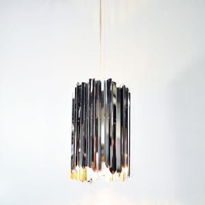 Facet Polished Stainless Steel One-Light Mini-Pendant