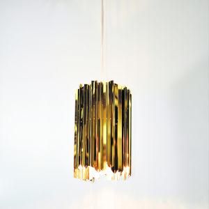 Facet Polished Brass One-Light Mini-Pendant