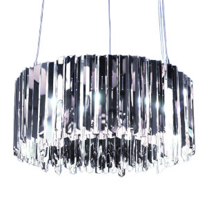 Facet Polished Stainless Steel 12-Light Pendant