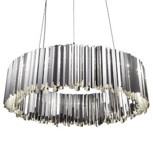 Facet Polished Stainless Steel 24-Light Pendant