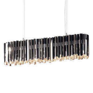 Facet Polished Stainless Steel Six-Light Pendant