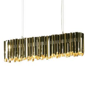 Facet Polished Brass Six-Light Pendant