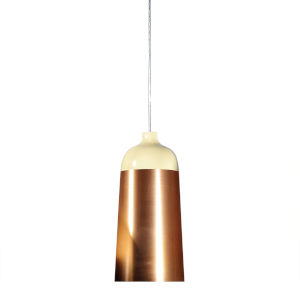 Glaze Cream and Copper 6-Inch One-Light Mini-Pendant 8W
