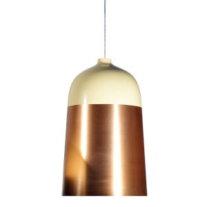 Glaze Cream and Copper 13-Inch One-Light Pendant with 15W