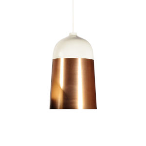 Glaze White and Copper 13-Inch One-Light Pendant with 15W