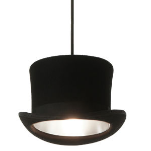 Jeeves and Wooster Black Felt and Silver Interior One-Light Pendant
