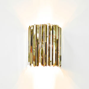 Facet Polished Brass Two-Light Wall Sconce
