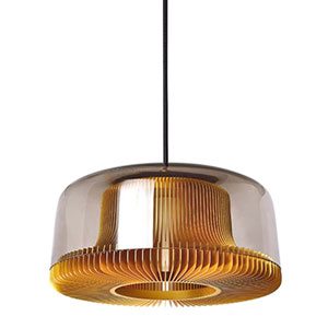 Dub Pale Gold 11-Inch One-Light Pendant with Smoke Glass