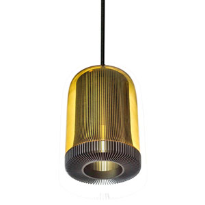 Dub Gray One-Light Mini Pendant with Amber Glass