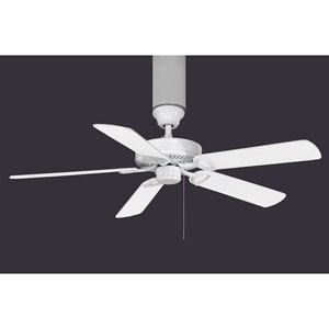 American Gloss White 52-Inch Five Blade Builder USA Paddle Fan with Reversible White and Wood Tone Blades