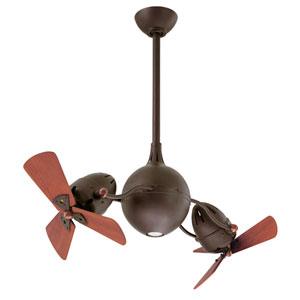 Atlas Fan Acqua Textured Bronze Ceiling Fan with Wood Blades