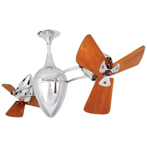 Ar Ruthiane Brushed Nickel 48-Inch Rotational Ceiling Fan with Wood Blades