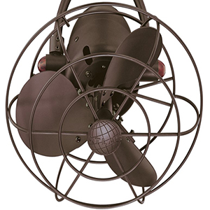 Atlas Textured Bronze Fan Head with Decorative Cage