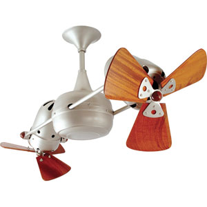Duplo Dinamico Brushed Nickel 36-Inch Ceiling Fan with Mahogany Blades