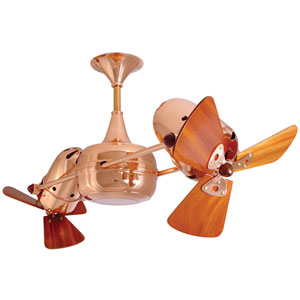 Duplo Dinamico Polished Copper 36-Inch Ceiling Fan with Mahogany Blades