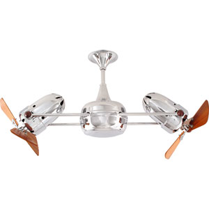 Duplo Dinamico Polished Chrome 36-Inch Ceiling Fan with Mahogany Blades