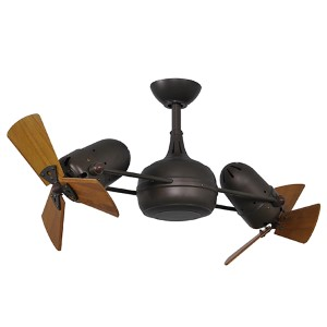 Dagny Textured Bronze 40-Inch Dual Rotational Ceiling Fan with Wood Blades