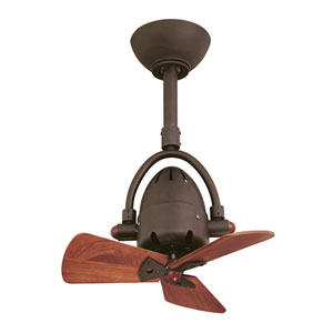 Atlas Fan Diane Textured Bronze Ceiling Fan with Wood Blades