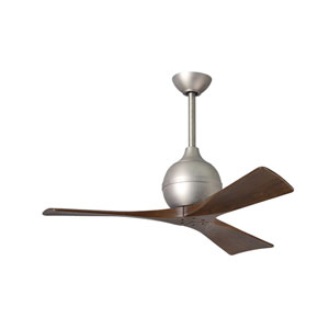 Irene-3 Brushed Nickel 42-Inch Paddle Ceiling Fan with Walnut Tone Blades