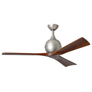 Irene-3 Brushed Nickel 52-Inch Ceiling Fan with Wood Blades