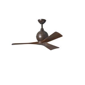 Irene-3 Textured Bronze 42-Inch Paddle Ceiling Fan with Walnut Tone Blades