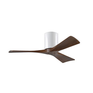 Irene-H 3 Gloss White 42-Inch Hugger-Style Ceiling Fan with Walnut Tone Blades