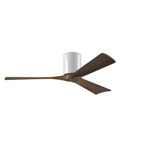 Irene-H 3 Gloss White 52-Inch Hugger-Style Ceiling Fan with Walnut Tone Blades