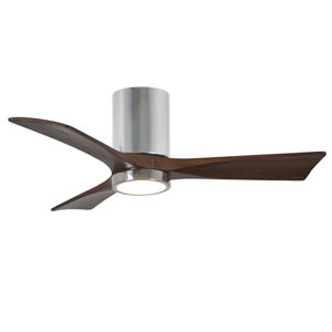 Irene-3HLK Polished Chrome 42-Inch LED Ceiling Fan with Barnwood Tone Blades