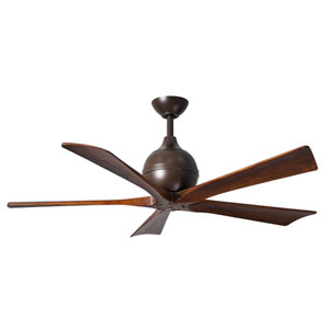 Irene-5 Textured Bronze 42-Inch Paddle Ceiling Fan with Walnut Tone Blades