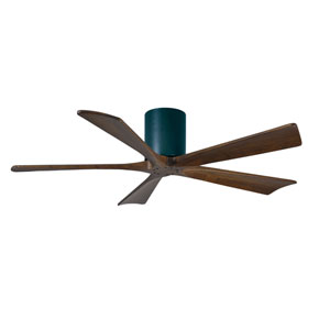Irene-H 5 Matte Black 52-Inch Hugger-Style Ceiling Fan with Walnut Tone Blades
