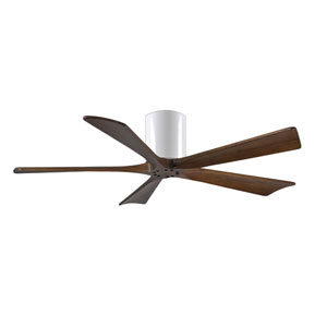 Irene-H 5 Gloss White 52-Inch Hugger-Style Ceiling Fan with Walnut Tone Blades