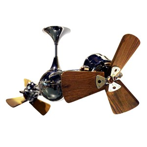 Italo Ventania Brushed Copper 62-Inch Rotational Ceiling Fan with Wood Blades