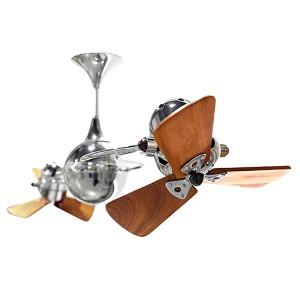 Italo Ventania Polished Chrome 62-Inch Rotational Ceiling Fan with Wood Blades